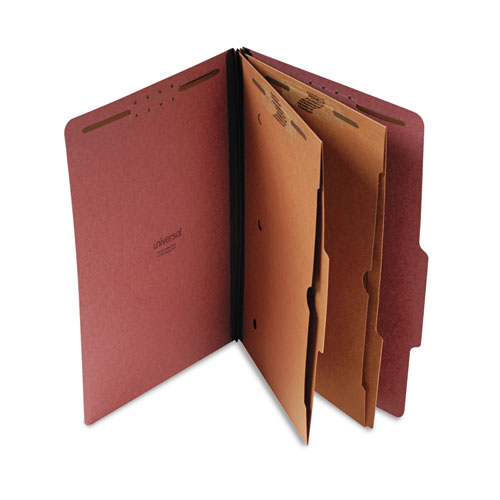 SIX-SECTION CLASSIFICATION FOLDER W/ POCKETS, 2 DIVIDERS, LEGAL SIZE, RED, 10/BOX