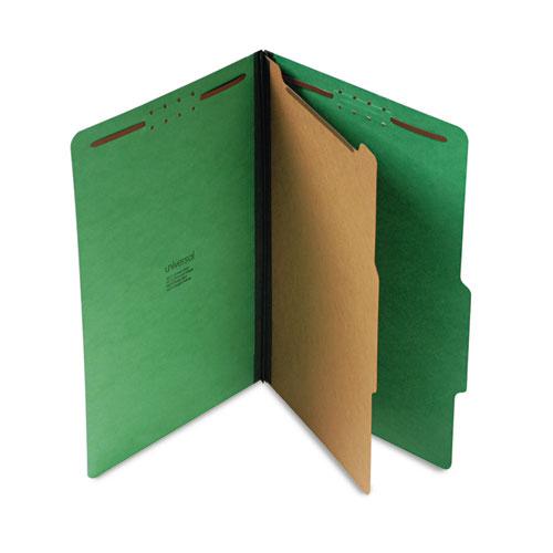 BRIGHT COLORED PRESSBOARD CLASSIFICATION FOLDERS, 1 DIVIDER, LEGAL SIZE, EMERALD GREEN, 10/BOX