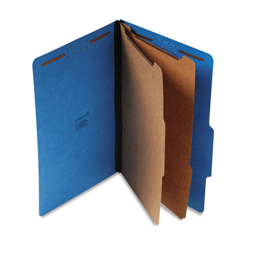 BRIGHT COLORED PRESSBOARD CLASSIFICATION FOLDERS, 2 DIVIDERS, LEGAL SIZE, COBALT BLUE, 10/BOX