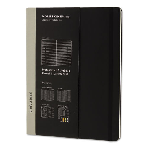 PROFESSIONAL NOTEBOOK, NARROW RULE, BLACK COVER, 9.75 X 7.5, 192 SHEETS