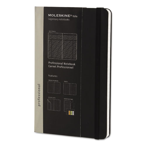 PROFESSIONAL NOTEBOOK, NARROW RULE, BLACK COVER, 8.25 X 5, 240 SHEETS