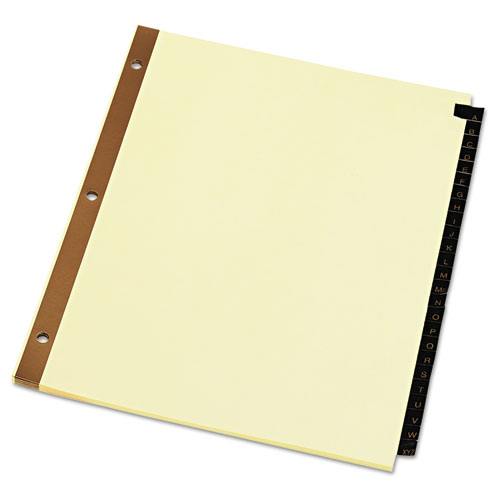 DELUXE PREPRINTED SIMULATED LEATHER TAB DIVIDERS WITH GOLD PRINTING, 25-TAB, A TO Z, 11 X 8.5, BUFF, 1 SET