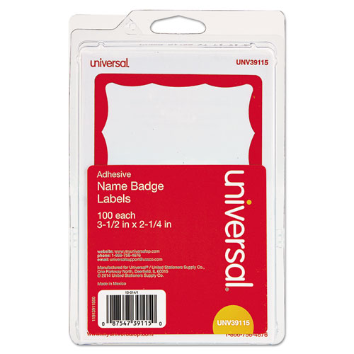 Image for Border-Style Self-Adhesive Name Badges, 3 1/2 X 2 1/4, White/red, 100/pack