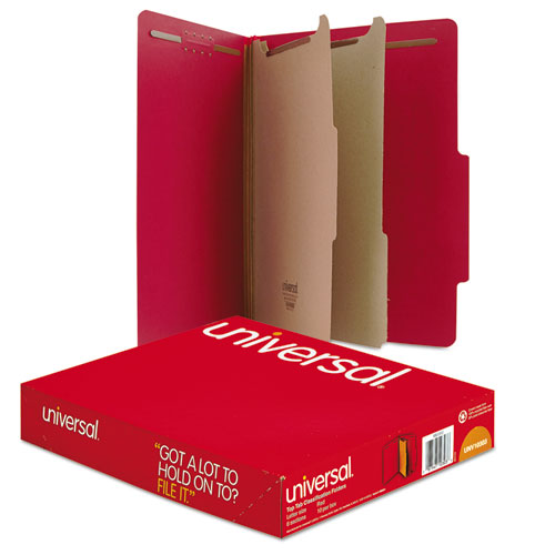 BRIGHT COLORED PRESSBOARD CLASSIFICATION FOLDERS, 2 DIVIDERS, LETTER SIZE, RUBY RED, 10/BOX