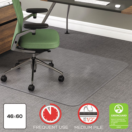 ROLLAMAT FREQUENT USE CHAIR MAT, MEDIUM PILE CARPET, FLAT, 46 X 60, RECTANGLE, CLEAR