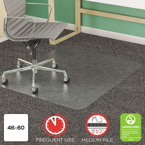 SUPERMAT FREQUENT USE CHAIR MAT, MEDIUM PILE CARPET, FLAT, 46 X 60, RECTANGLE, CLEAR