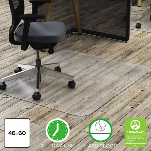 POLYCARBONATE ALL DAY USE CHAIR MAT - HARD FLOORS, 46 X 60, RECTANGLE, CLEAR
