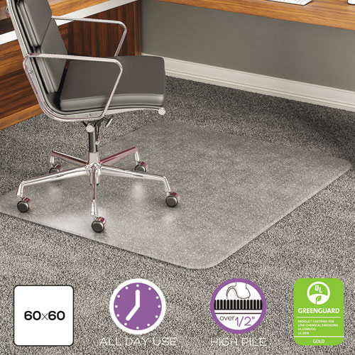 EXECUMAT ALL DAY USE CHAIR MAT FOR HIGH PILE CARPET, 60 X 60, RECTANGULAR, CLEAR