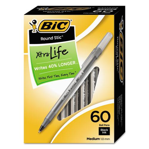 ROUND STIC XTRA LIFE STICK BALLPOINT PEN VALUE PACK, 1 MM, BLACK INK, SMOKE BARREL, 60/BOX
