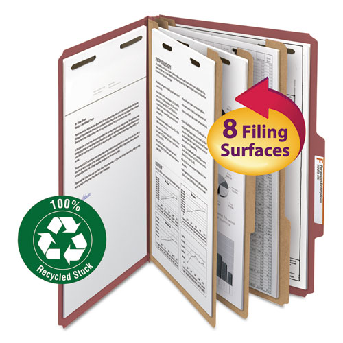 100% RECYCLED PRESSBOARD CLASSIFICATION FOLDERS, 3 DIVIDERS, LEGAL SIZE, RED, 10/BOX