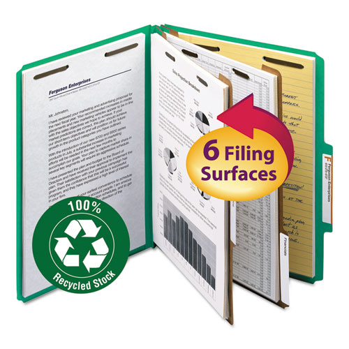 100% RECYCLED PRESSBOARD CLASSIFICATION FOLDERS, 2 DIVIDERS, LETTER SIZE, GREEN, 10/BOX
