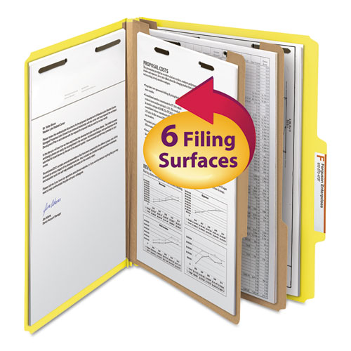 COLORED TOP TAB CLASSIFICATION FOLDERS, 2 DIVIDERS, LETTER SIZE, YELLOW, 10/BOX