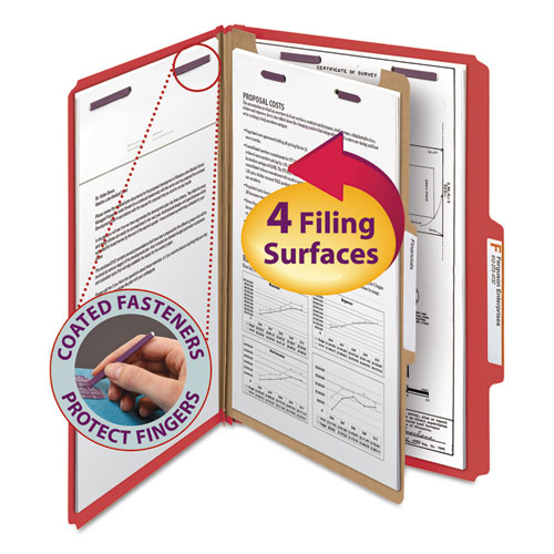 FOUR-SECTION PRESSBOARD TOP TAB CLASSIFICATION FOLDERS WITH SAFESHIELD FASTENERS, 1 DIVIDER, LEGAL SIZE, BRIGHT RED, 10/BOX