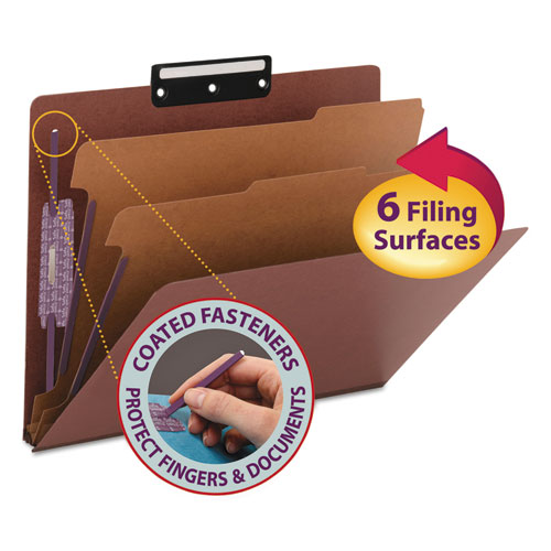 PRESSBOARD CLASSIFICATION FOLDERS WITH SAFESHIELD COATED FASTENERS, 1/3-CUT, 2 DIVIDERS, LETTER SIZE, RED, 10/BOX
