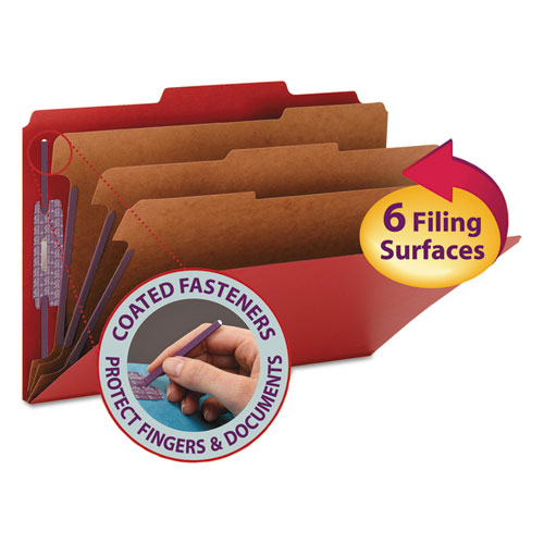 EIGHT-SECTION PRESSBOARD TOP TAB CLASSIFICATION FOLDERS WITH SAFESHIELD FASTENERS, 3 DIVIDERS, LEGAL SIZE, BRIGHT RED, 10/BOX