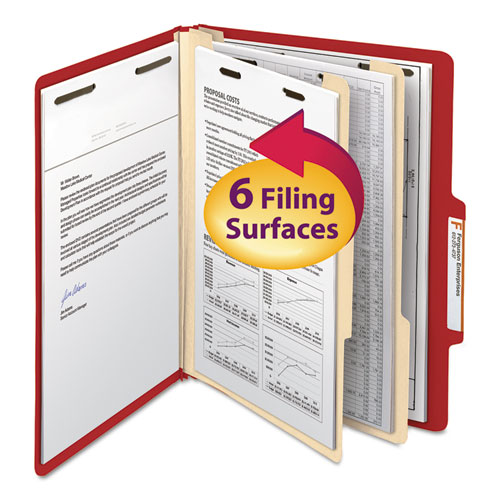COLORED TOP TAB CLASSIFICATION FOLDERS, 2 DIVIDERS, LETTER SIZE, RED, 10/BOX