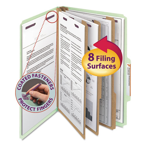PRESSBOARD CLASSIFICATION FOLDERS WITH SAFESHIELD COATED FASTENERS, 2/5 CUT, 3 DIVIDERS, LEGAL SIZE, GRAY-GREEN, 10/BOX