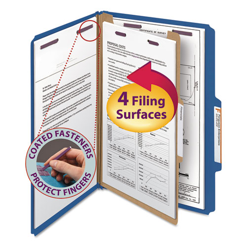 FOUR-SECTION PRESSBOARD TOP TAB CLASSIFICATION FOLDERS WITH SAFESHIELD FASTENERS, 1 DIVIDER, LEGAL SIZE, DARK BLUE, 10/BOX