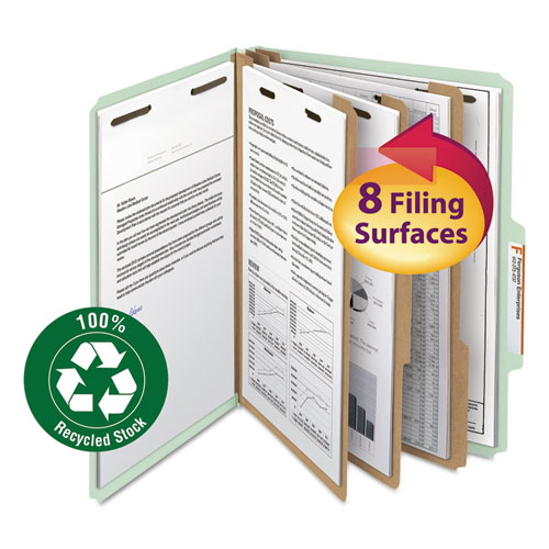 100% RECYCLED PRESSBOARD CLASSIFICATION FOLDERS, 3 DIVIDERS, LETTER SIZE, GRAY-GREEN, 10/BOX