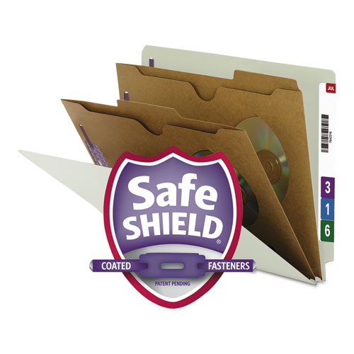 X-HEAVY END TAB PRESSBOARD CLASSIFICATION FOLDERS W/SAFESHIELD FASTENERS, 2-POCKET DIVIDERS, LETTER SIZE, GRAY-GREEN, 10/BOX
