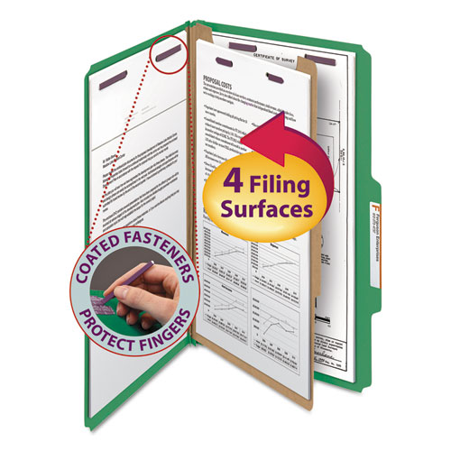 FOUR-SECTION PRESSBOARD TOP TAB CLASSIFICATION FOLDERS WITH SAFESHIELD FASTENERS, 1 DIVIDER, LEGAL SIZE, GREEN, 10/BOX