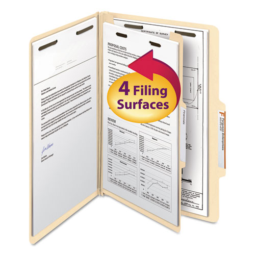 MANILA FOUR- AND SIX-SECTION TOP TAB CLASSIFICATION FOLDERS, 1 DIVIDER, LEGAL SIZE, MANILA, 10/BOX
