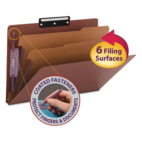 PRESSBOARD CLASSIFICATION FOLDERS WITH SAFESHIELD COATED FASTENERS, 1/3-CUT, 2 DIVIDERS, LEGAL SIZE, RED, 10/BOX