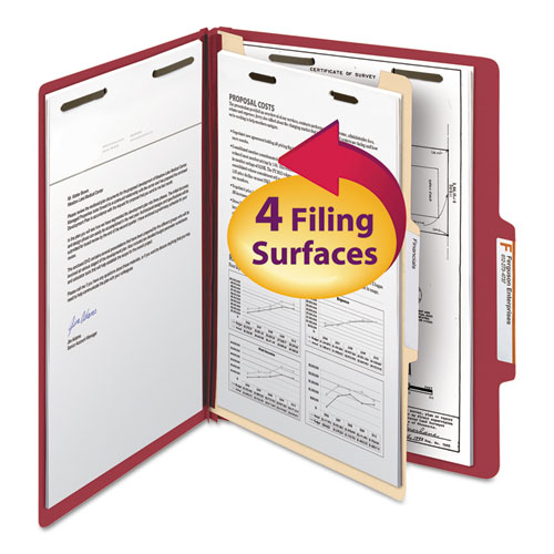 COLORED TOP TAB CLASSIFICATION FOLDERS, 1 DIVIDER, LETTER SIZE, RED, 10/BOX