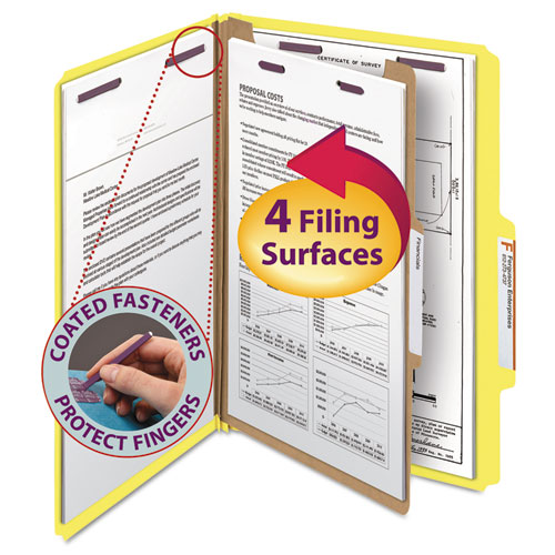 FOUR-SECTION PRESSBOARD TOP TAB CLASSIFICATION FOLDERS WITH SAFESHIELD FASTENERS, 1 DIVIDER, LEGAL SIZE, YELLOW, 10/BOX