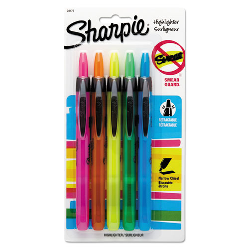 RETRACTABLE HIGHLIGHTERS, CHISEL TIP, ASSORTED COLORS, 5/SET