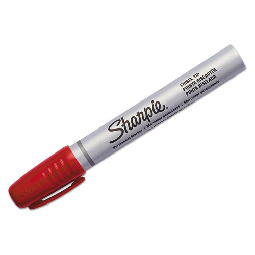 PRO PERMANENT MARKER, BROAD CHISEL TIP, RED