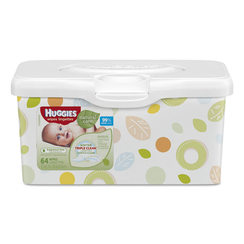 Huggies 174 Natural Care Baby Wipes Unscented White 64 Tub
