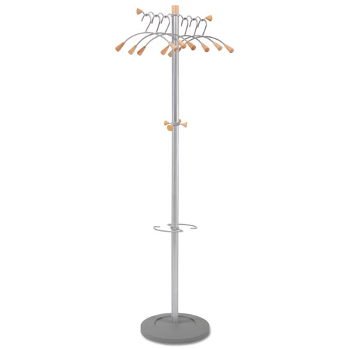 Image for WAVY COAT TREE, SIX HANGERS/TWO KNOBS/FOUR HOOKS, 18.88W X 14D X 68.5H, SILVER STEEL/WOOD