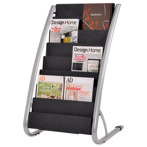 Image for LITERATURE FLOOR RACK, 16 POCKET, 23W X 19.67D X 36.67H, SILVER GRAY/BLACK