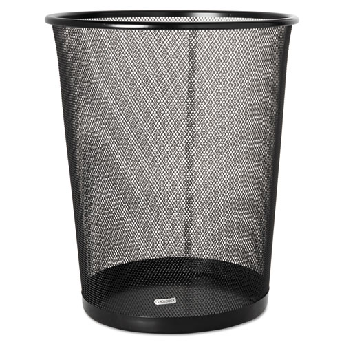 STEEL ROUND MESH TRASH CAN, 4.5 GAL, BLACK