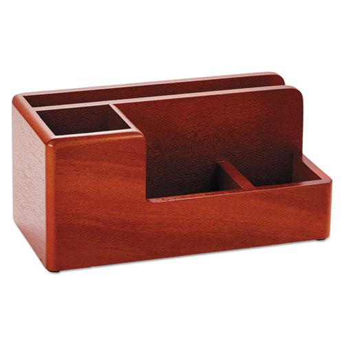 Wood Tones Desk Organizer, Wood, 4 1/4 X 8 3/4 X 4 1/8, Mahogany
