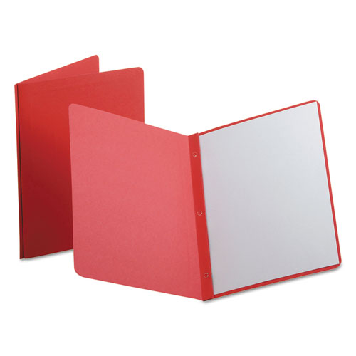 Report Cover, 3 Fasteners, Panel And Border Cover, Letter, Red, 25/box