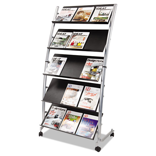 Image for MOBILE LITERATURE DISPLAY, 32.38W X 20.13D X 65.38H, SILVER GRAY/BLACK