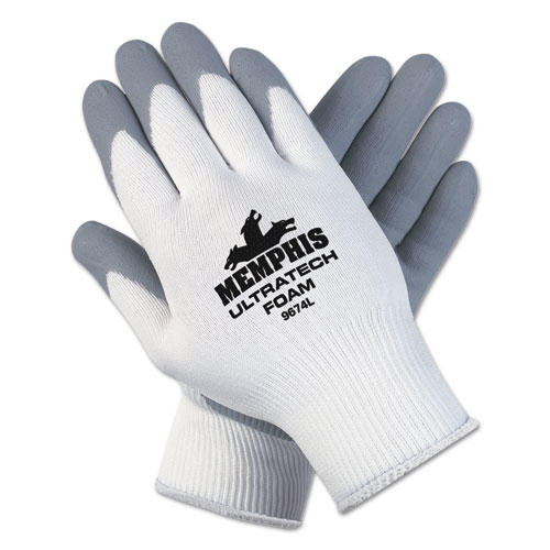 Ultra Tech Foam Seamless Nylon Knit Gloves, Large, White/gray, 12 Pair/dozen