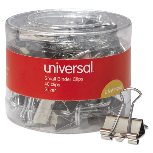 BINDER CLIPS IN DISPENSER TUB, SMALL, SILVER, 40/PACK
