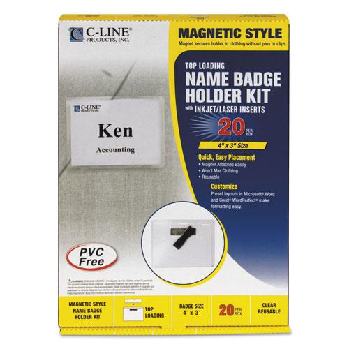 Magnetic Name Badge Holder Kit, Horizontal, 4w X 3h, Clear, 20/box