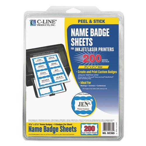 Laser Printer Name Badges, 3 3/8 X 2 1/3, White/blue, 200/box