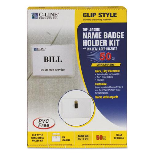Name Badge Kits, Top Load, 3 1/2 X 2 1/4, Clear, 50/box
