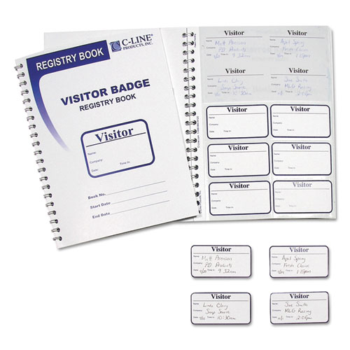VISITOR BADGES WITH REGISTRY LOG, 3 5/8 X 1 7/8, WHITE, 150 BADGES/BOX