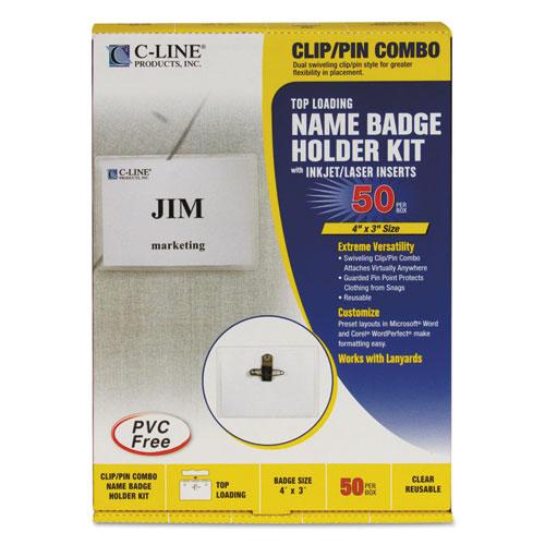 Name Badge Kits, Top Load, 4 X 3, Clear, Combo Clip/pin, 50/box