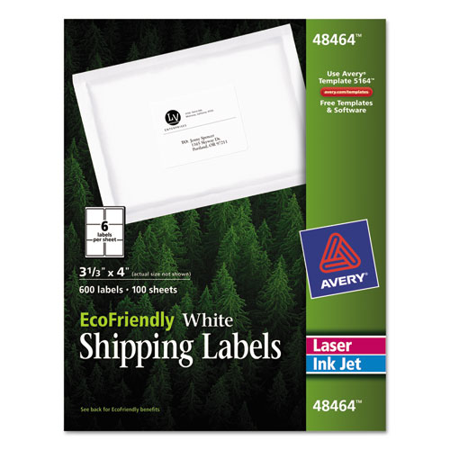 ECOFRIENDLY MAILING LABELS, INKJET/LASER PRINTERS, 3.33 X 4, WHITE, 6/SHEET, 100 SHEETS/PACK