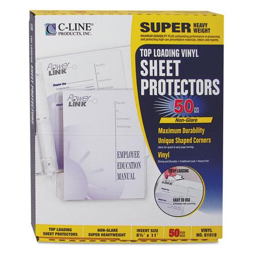 SUPER HEAVYWEIGHT VINYL SHEET PROTECTORS, NONGLARE, 2 SHEETS, 11 X 8 1/2, 50/BX