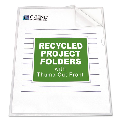 POLY PROJECT FOLDERS, LETTER SIZE, CLEAR, 25/BOX
