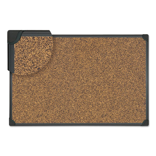 Tech Cork Board, 36 X 24, Cork, Black Plastic Frame