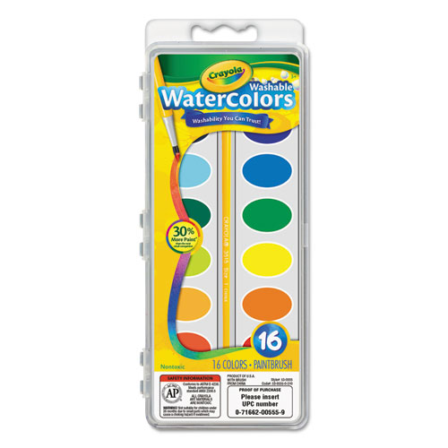 Image for Washable Watercolor Paint, 16 Assorted Colors